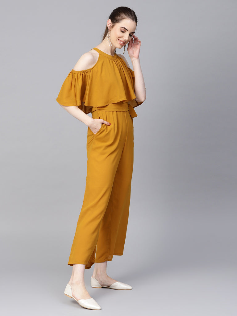 Mustard cold shoulder cape Jumpsuit