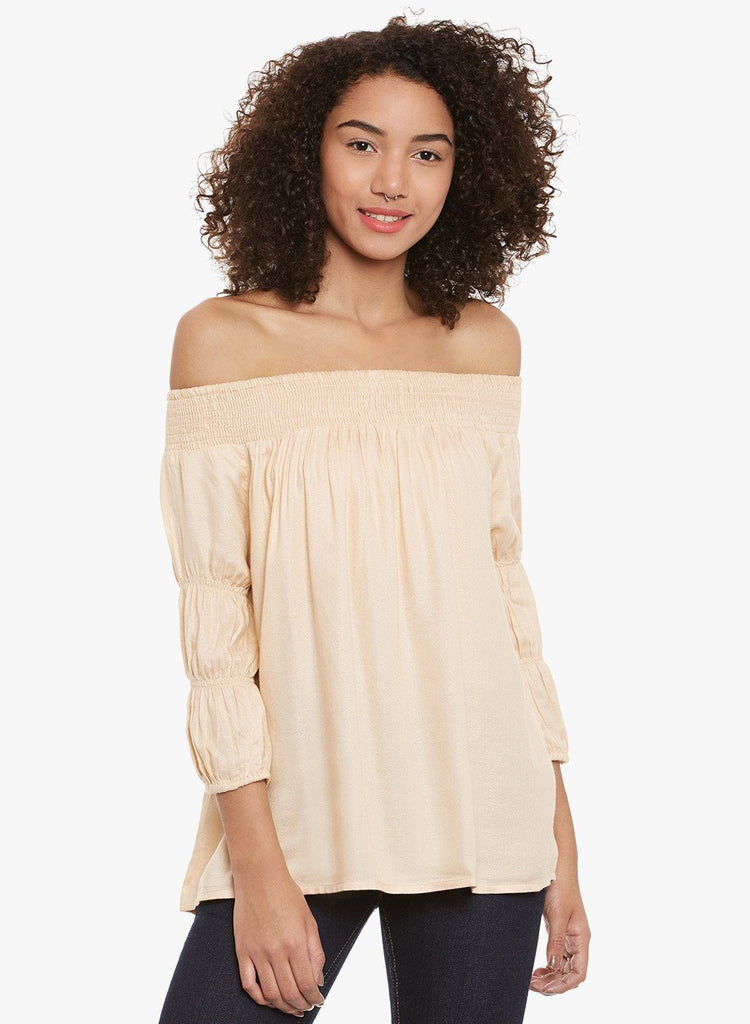 Peach Off Shoulder smocked top