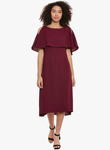 Maroon Cold Shoulder midi Dress