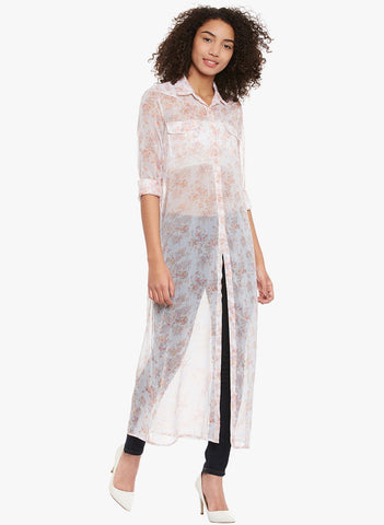 White Sheer Printed maxi Cover up