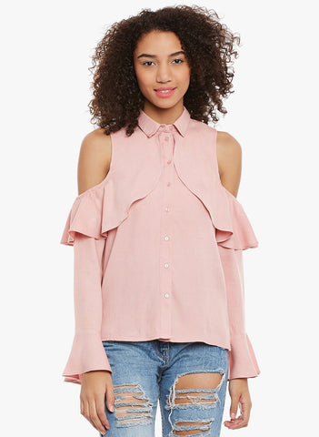 Blush pink cold shoulder ruffle Shirt