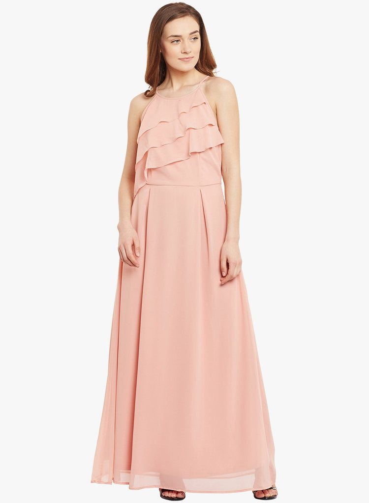 Rose Pink Ruffle Maxi Dress
