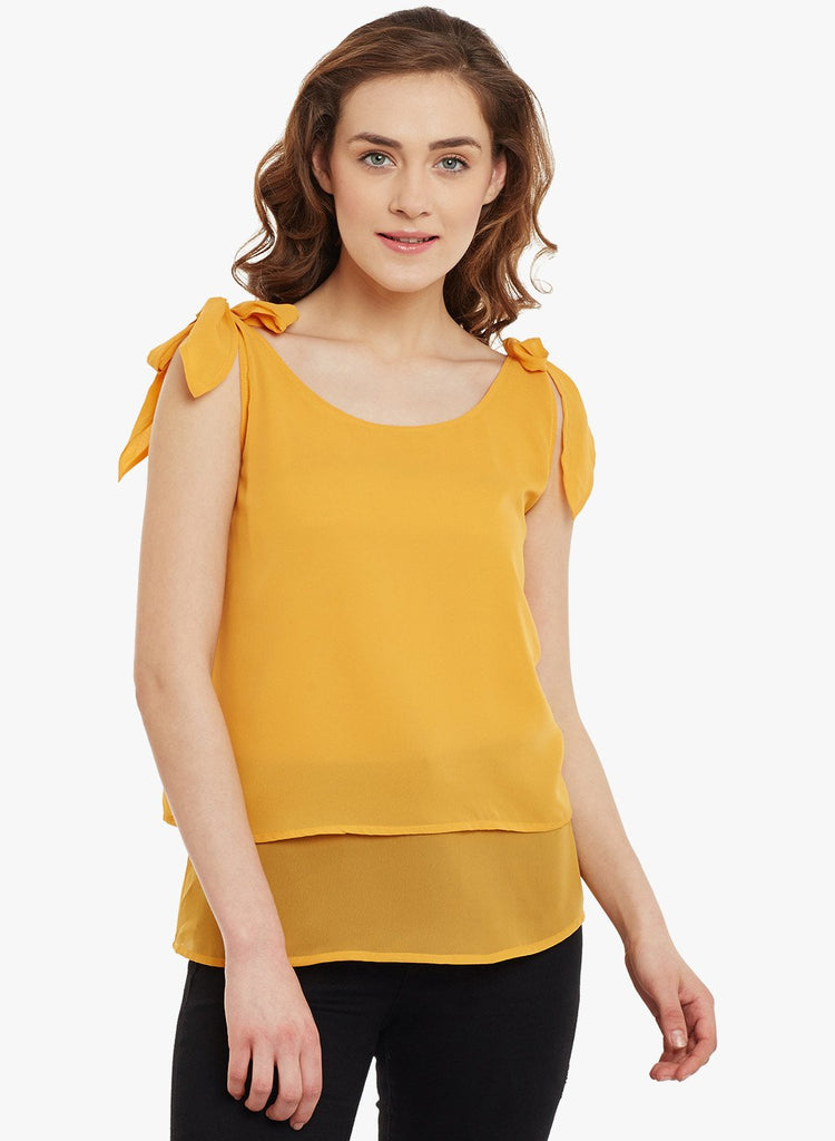 Mustard Shoulder Tie Up Top