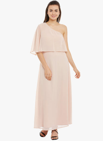 Blush One Shoulder Ruffle Maxi Dress