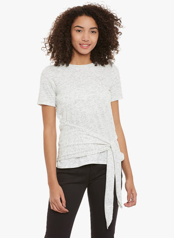 White Side Knot Jersey Top
