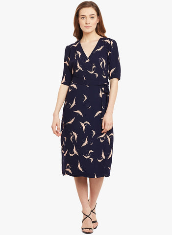 Navy Printed Wrap Midi Dress