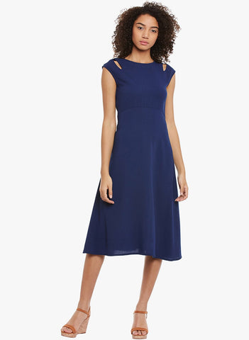 Navy Cutout shoulder Midi Dress