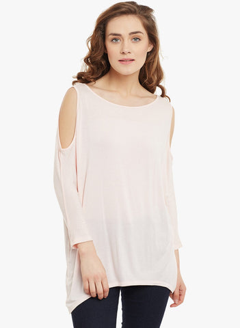 Pink oversized cold shoulder top