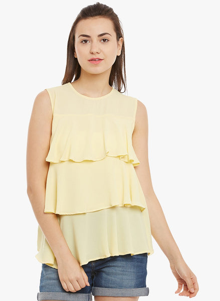 Yellow Ruffle Tier Sleeveless Top