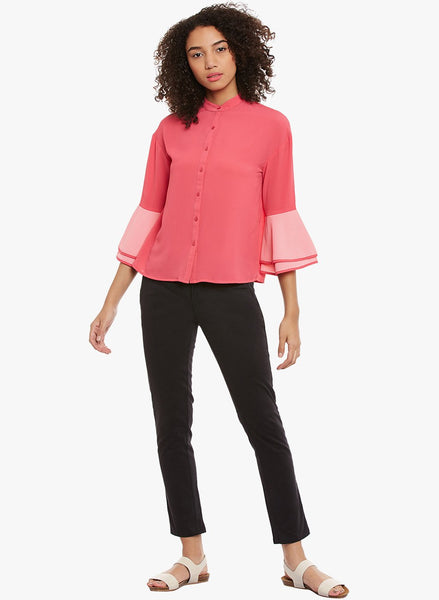 Dark Pink Colour Block Oversized Top