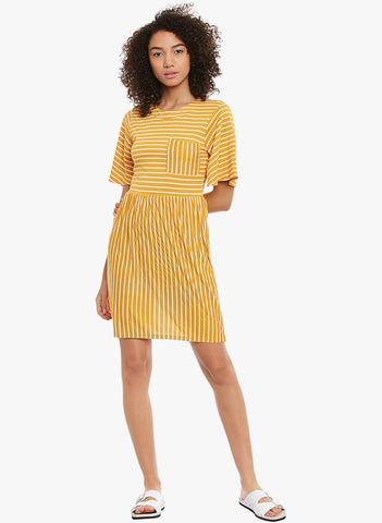 Mustard Stripe Midi Dress