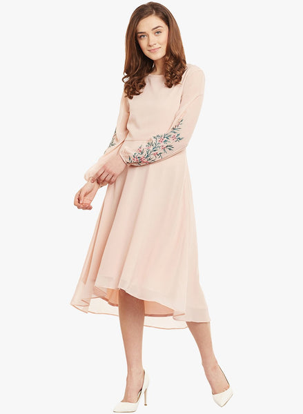 Blush Embroidered Sleeve Midi Dress