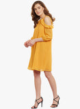 Mustard Cold Shoulder Mini dress