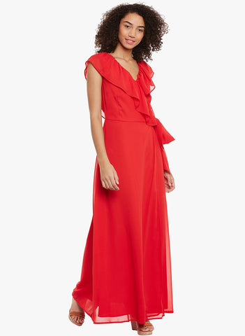 Red Over wrap Maxi Dress