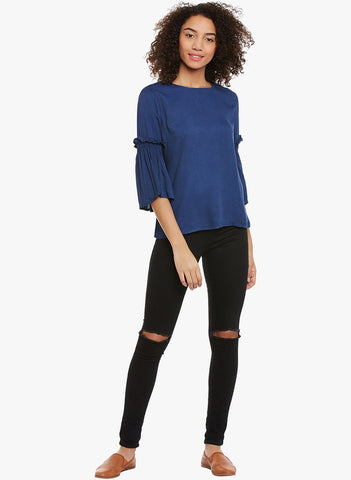 Blue Blouse With Flared Sleeves