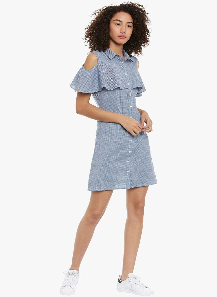Blue Gingham Cold Shoulder Shirt Dress