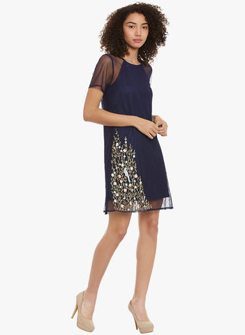Navy Embroidered Tulle Mini Dress