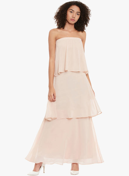 Blush Strapless Tiered Maxi Dress
