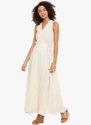 Ecru wrap maxi dress
