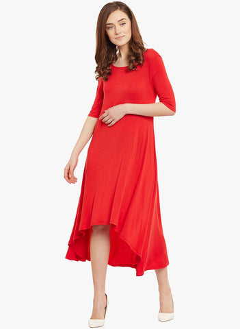Red Jersey High Low Dress