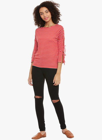 Red And White Stripe Tie Detailing Top