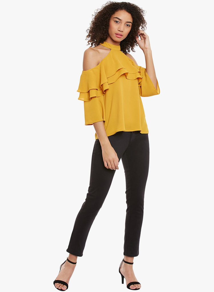 Mustard cold shoulder top with shoulder ruffle