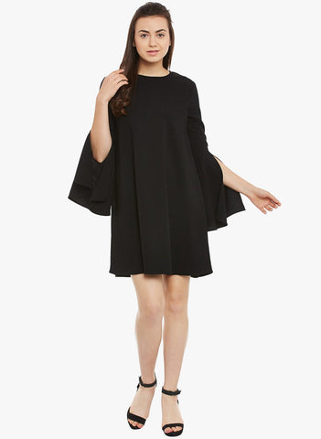 Black Bell Sleeve Mini Dress