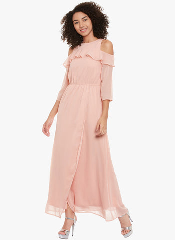Rose Pink Cold Shoulder Maxi Dress