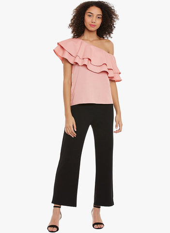 One shoulder ruffle layered Top
