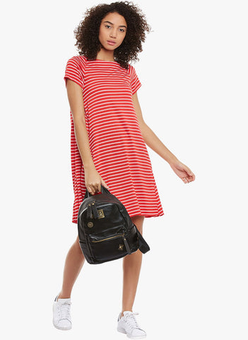 Red Stripe Swing Dress