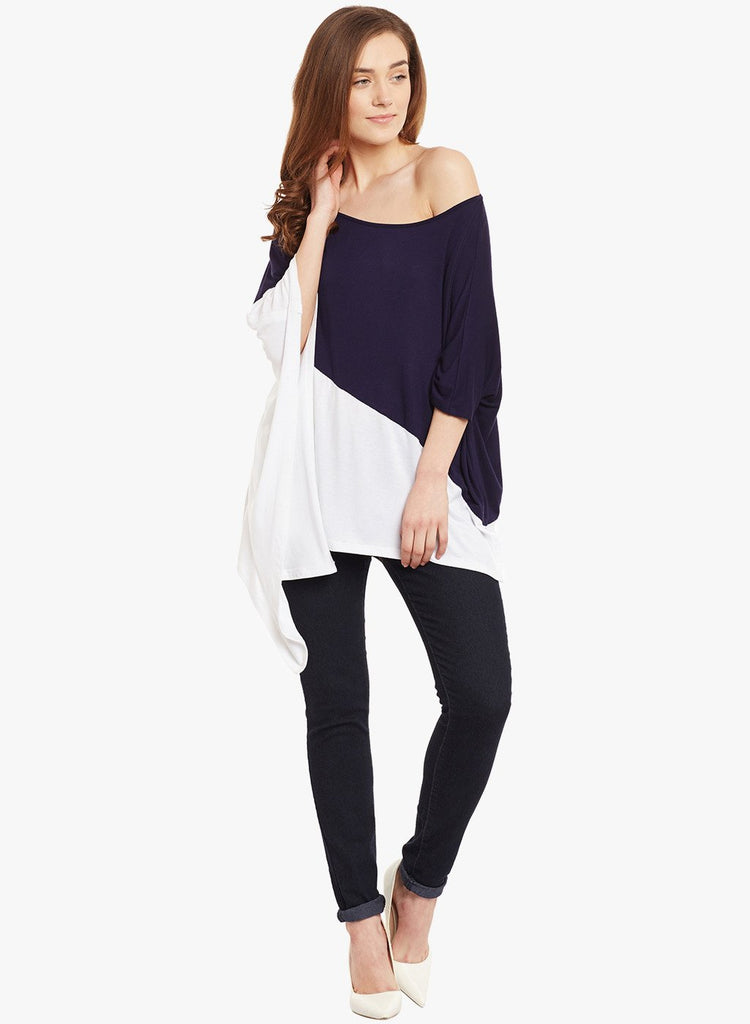 White Colour Block Poncho