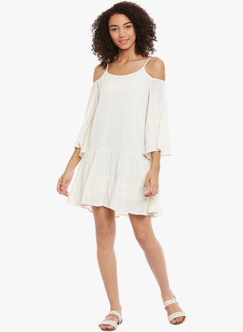 White drop waist cold shoulder dress