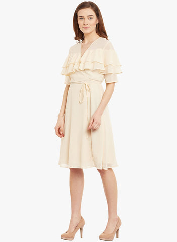 Ecru Ruffle layered Midi Dress