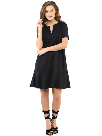 Black Front Notch Dress