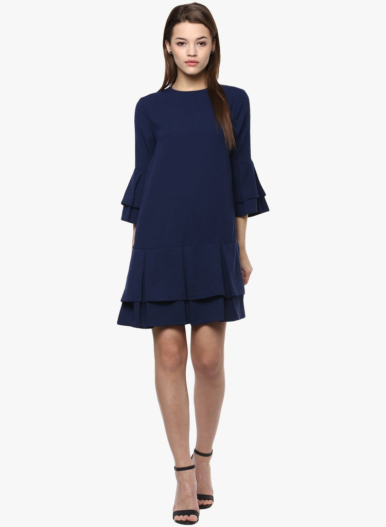 Navy Pleat Detail Mini Dress