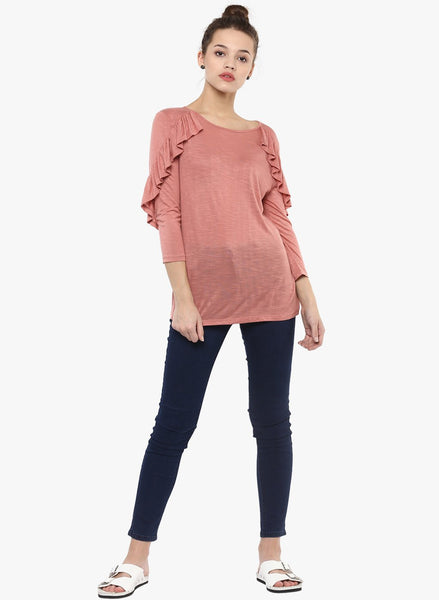 Rose Pink Ruffle Detail Top