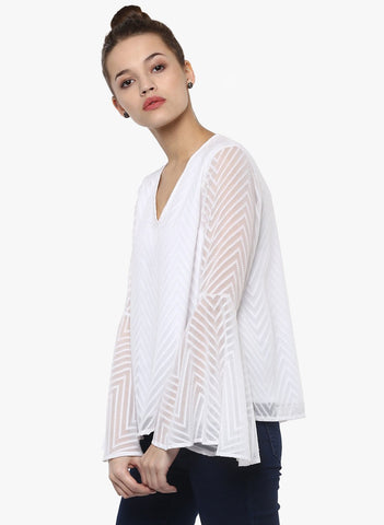 White Dobby Bell Sleeve Top