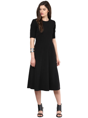 Black Fit And Flare Midi Dress