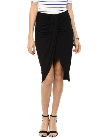 Black Draped Jersey Skirt