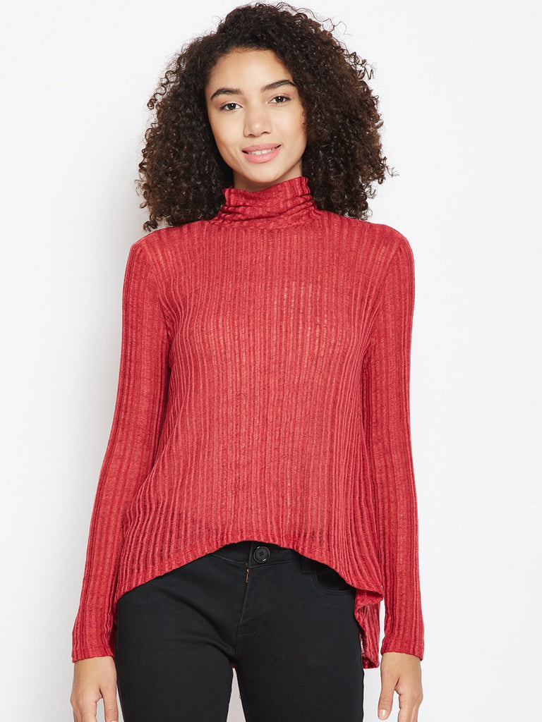 Red turtle neck ribbed top