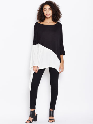 Black colour block offshoulder poncho