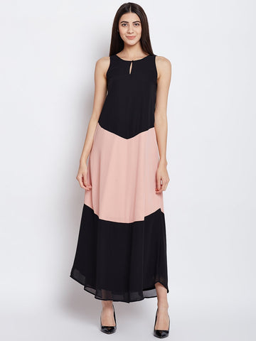 Black Colour Block Maxi Dress