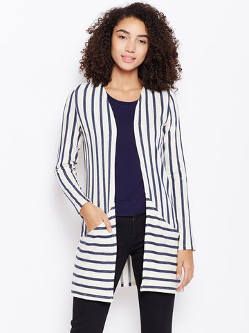 Navy white stripe play shrug