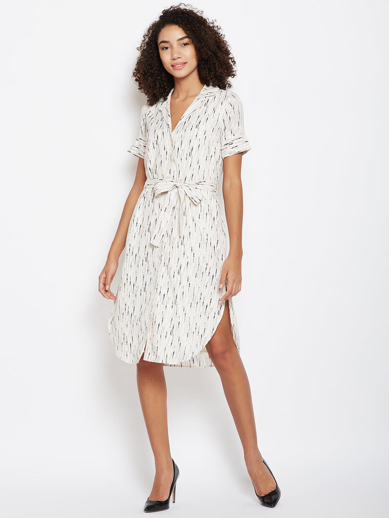 Ecru Printed shirt dress