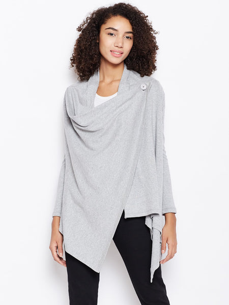 Grey sweater knit multiwear shrug