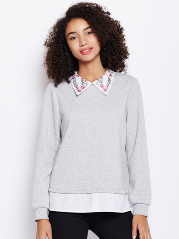 Grey embroidered collar sweatshirt