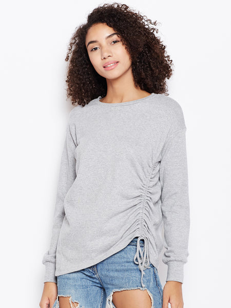 Grey Side Ruching Sweatshirt