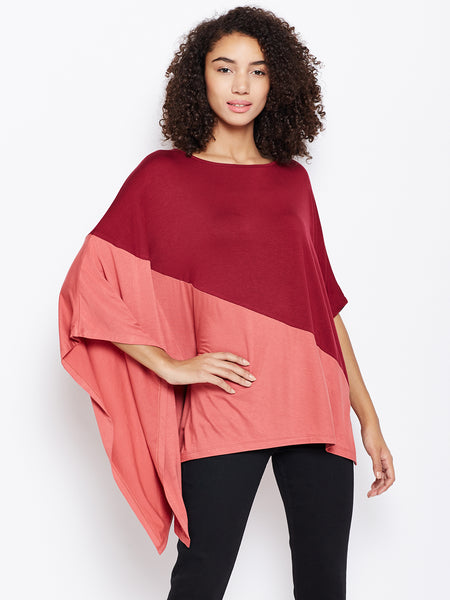 Wine colour block off-shoulder poncho