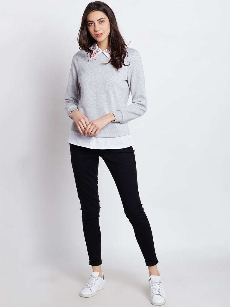 Grey Collar Embroidered Sweatshirt