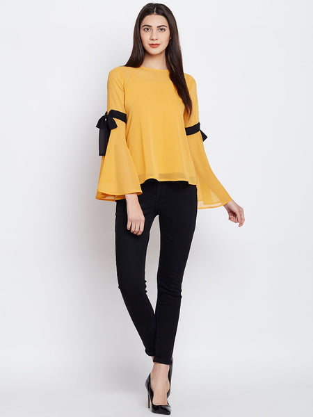 Mustard Contrast Tie Up Top